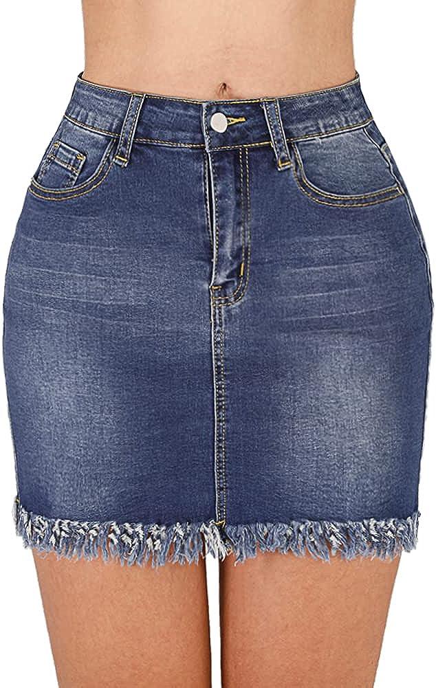 Haola Women's Casual Mid Waisted Denim Skirt Frayed A-Line Denim Short Skirt