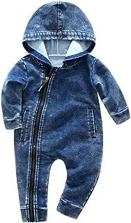 Digood Toddler Newborn Baby Boys Girls Hooded Denim Zipper Jumpsuit Romper Bodysuit Clothes Outfits