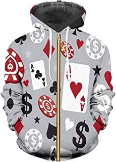 46438717e5023f Print Poker 3D Sweatshirts Coat Zipper Cardigan Long Sleeve Hooded Jacket