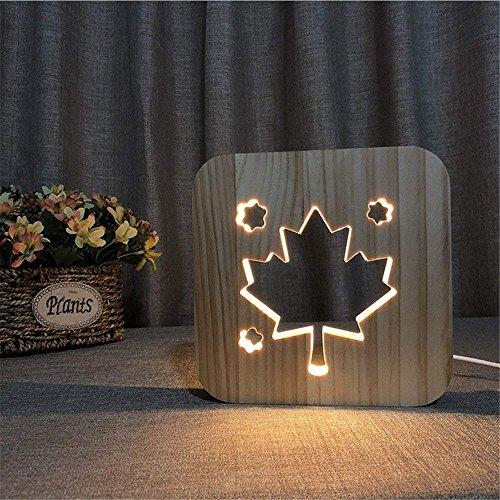 JXS Hand-Geschnitzte Tischlampe Formulaire De Création 3D Der Ahornholzblattform, USB-Schnittstelle Und Warme Weiße Lichtquelle