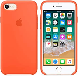 BigMike Compatible for iPhone 7 Case, iPhone 8 Case, Soft Liquid Silicone Shock-Absorption Case with Soft Microfiber Cloth Lining Cushion for iPhone 7/8-4.7inch (Spicy Orange)