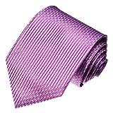 LORENZO CANA - Marken Krawatte aus 100% Seide, lila violett Punkte Streifen Design - 84464