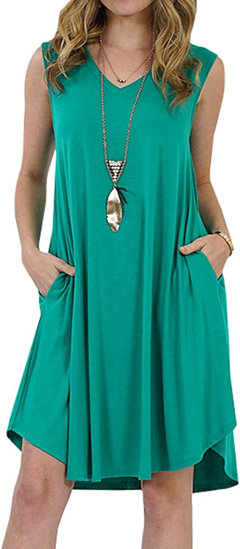 Farktop Womens Summer Dresses Sleeveless Casual Swing Midi Tank Dress Loose Fit Tshirt Dress