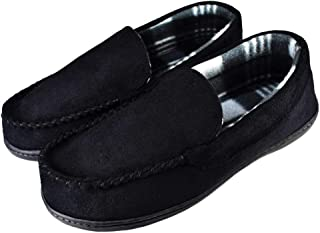 Tirzrro Men's Pile Lining House Moccasin Slippers with Soft Memory Foam Insole Shoes US 11 Black