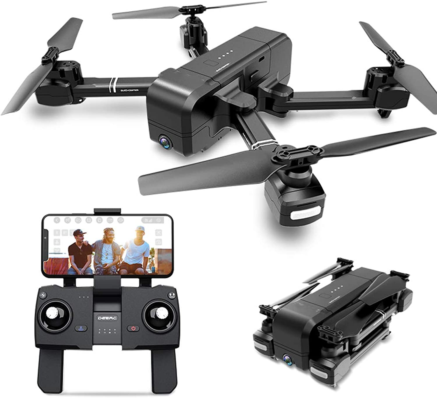 Foldable Quadcopter UAV 1080P HD Camera FPV WiFi Selfie live video, Gesture   120° Wide Angle Track Flight Height Hold Headless Mode One Button Back Follow Me Application Control