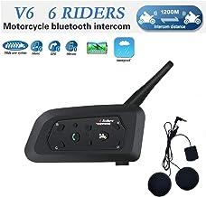 V6 Moto Bluetooth Casco Intercomunicador Intercomunicador Auricular, dúplex Completo Moto inalámbrico Interfono Conecte hasta 6 pasajeros, Radio FM/GPS / MP4 / 1200M(1 Pieza Cable Suave)