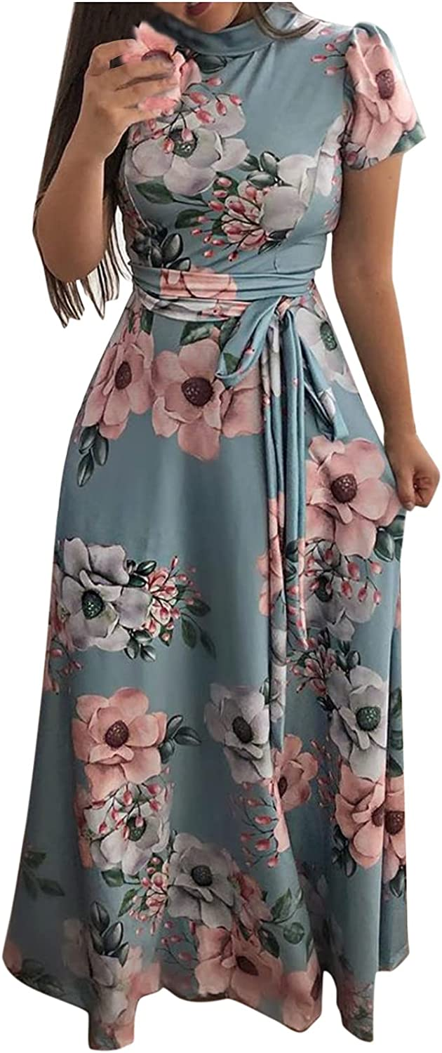 Short Sleeve Straps Casual Dress for Women ,Ladies Summer High Neck Floral Print Trendy Bandage Daily Wear Dress