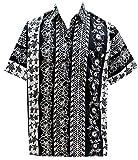 LA LEELA Casual Hawaiana Camisa para Hombre Señores Manga Corta Bolsillo Delantero Vacaciones Verano Hawaiian Shirt XS-(in cms):91-96 Halloween Negro_W718