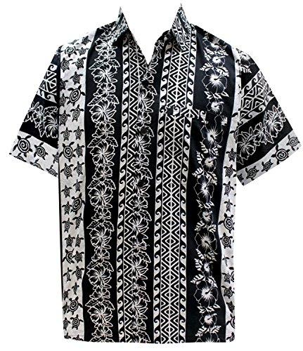 LA LEELA Casual Hawaiana Camisa para Hombre Señores Manga Corta Bolsillo Delantero Vacaciones Verano Hawaiian Shirt...