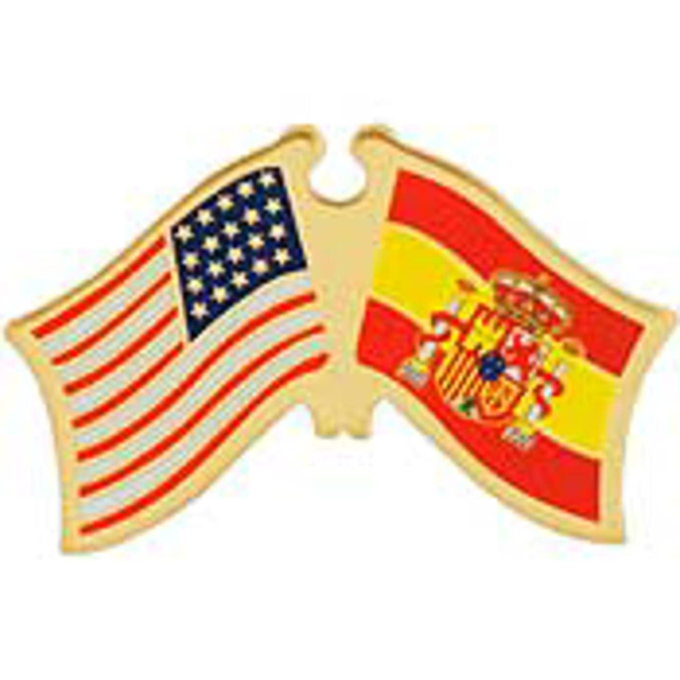 EagleEmblems P09801 PIN-USA/Spain (Cross Flags) (1.125'')