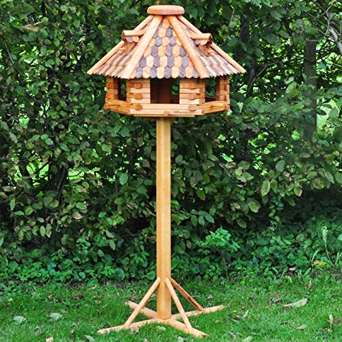 VOSS.garden Vogelhaus XXL Herbstlaub 70cm Durchmesser inklusive großem Standfuß, insg. 1,45 Hoch Vogelfutterstation, Vogelhäuschen