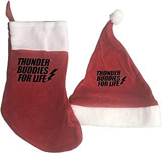 Christmas Decorations Sets 2 Pcs Thunder Buddies for Life Christmas Hats and Christmas Stockings Red