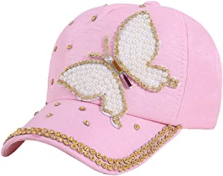 Baseball Cap,Women Fashion Summer Baseball Cap,Multi Color Rhinestone Butterfly Girls Women Fashion Snapback Casquette Gorras Visor Hats Popular