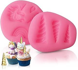 Dmaxia Unicorn Candy Molds,DIY Silicone Fondant Cake Cupcake Decoration Moluds for Birthday Party Handmade Unicorn Horn Ears and Eyelash Baking Set of 2