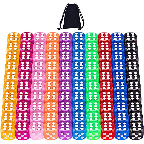 SIQUK 100 Piezas Dados 12mm 6 Caras Dados 10 Colores Translúcidos Dados para Tenzi Casino Dados Juegos de Mesa