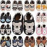 scarpe neonato scarpine primi passi morbida pelle scarpine prima infanzia suola scamosciata. carino colorate animali 0 a 24 mesi (02 koala nero, 12_months)
