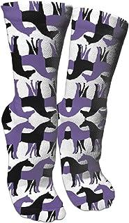 靴下 抗菌防臭 ソックス ブラックとパープル馬スポーツスポーツソックス、旅行&フライトソックス、塗装アートファニーソックス30センチメートル長い靴下