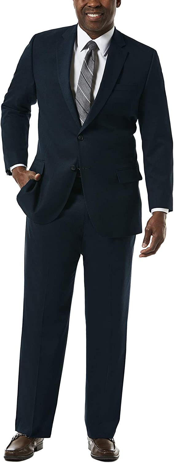 Haggar Men's Big and Tall J.m Premium Stretch Classic Fit 2-Button Coat, Dark Navy, 54R with Plain Front Pant, Dark Navy, 48Wx32L