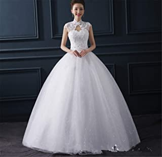 Women's V-Neck Dresses with Lace Evening Dresses Long Wedding Gowns Elegant Ball Gown Wedding Dress White M