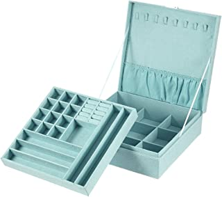 Jewelry Box, MaleDen 2 Layers Lint Jewelry Organizer Necklace Display with Lock, Removable 36 Compartments for Earrings Bracelets Rings Case