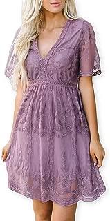 AOOKSMERY Women Sweet Pea Lace Flower Mini Dresses V Neck Short Sleeve Swing Dress