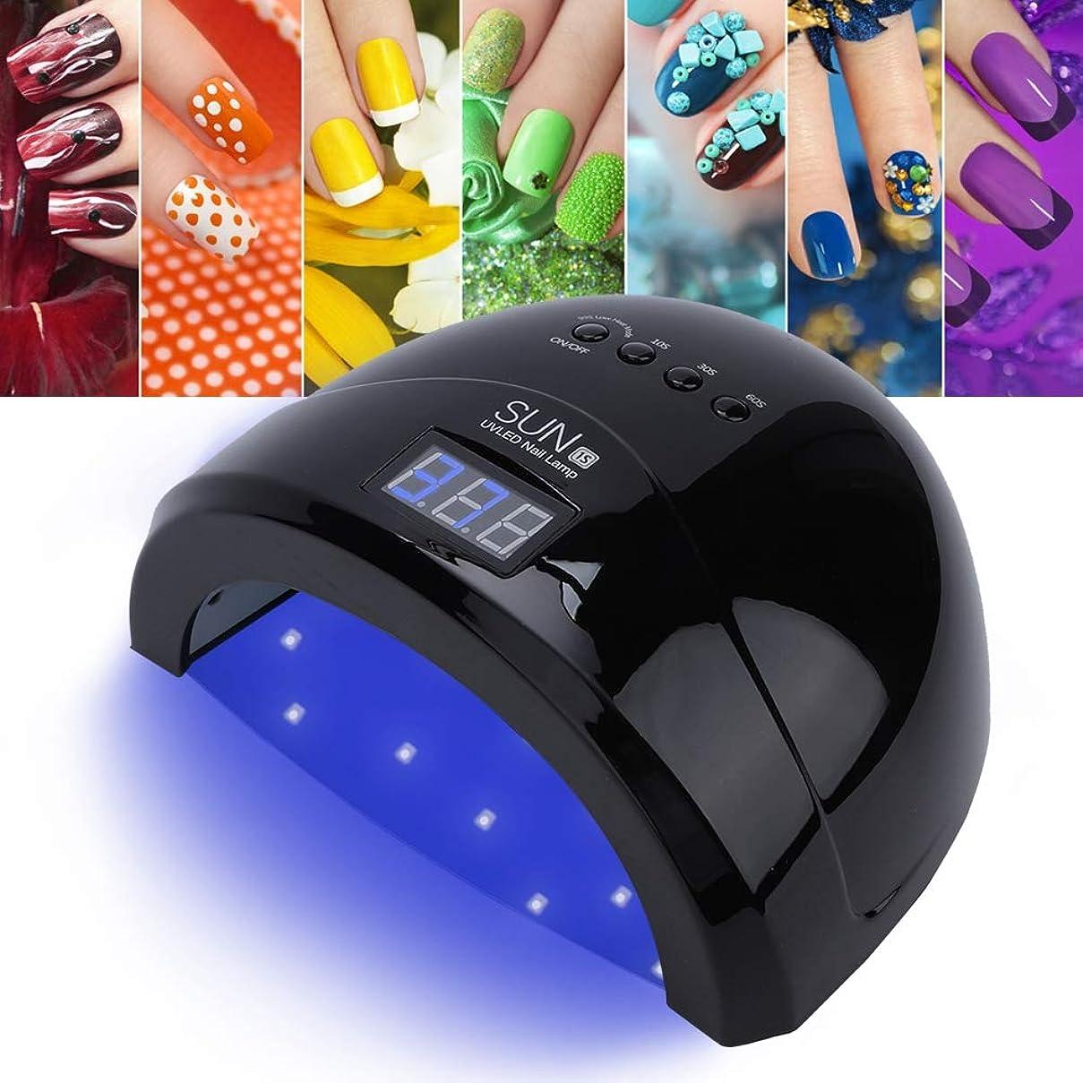 支店交換可能スリップシューズ48Wランプネイルドライヤー、UV LEDデュアル光源ジェルポリッシュランプ、マニキュアキュアリングネイルポリッシュ乾燥用のタイミングセット付き(01)
