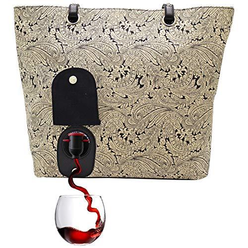 PortoVino Weinhandtasche (Paisley) - Modisch mit verstecktem, isoliertem Fach für 2 Flaschen Wein auf dem Weg!