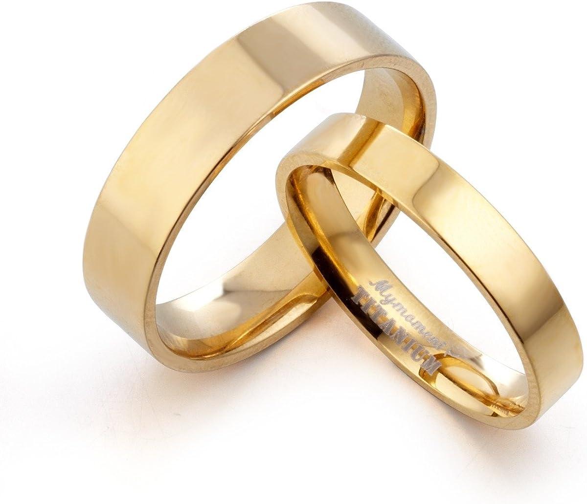 Gemini Groom & Bride Matching 18K Gold Filled Anniversary Wedding Titanium Rings Set, Width 6mm & 4mm Men Ring Size : 15 Women Ring Size : 6.5