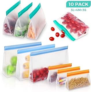 Bolsas Silicona Reutilizables - BHY 10Pcs Bolsas Reutilizables de Almacenamiento de Alimentos PEVA Bolsas Zip para Almacenar y Congelar Comida Tanto Sólida cómo Líquida