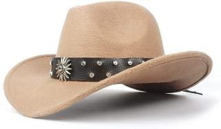 JAUROUXIYUJI New Fashion Men's Women's Western Cowboy Hat for Gentleman Dad Cowboy Hat Solid Diamond Hombre (Color : Beige, Size : 56-59cm)