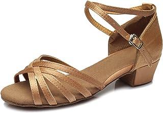 SWDZM Chaussures de Danse Fille Standard Latin Chacha,Ballet Chaussures Paillettes Model-FR-SS202