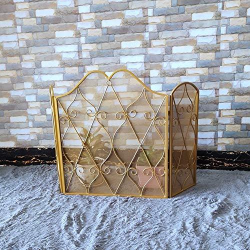 Cakunmik 3 Goldene Schmiedeeisen Panels Kamin-Bildschirm - dekorative Metall-Küchen-Saiten Solide Sicherheits-Proof-Kamin-Schließschale Blotti,A