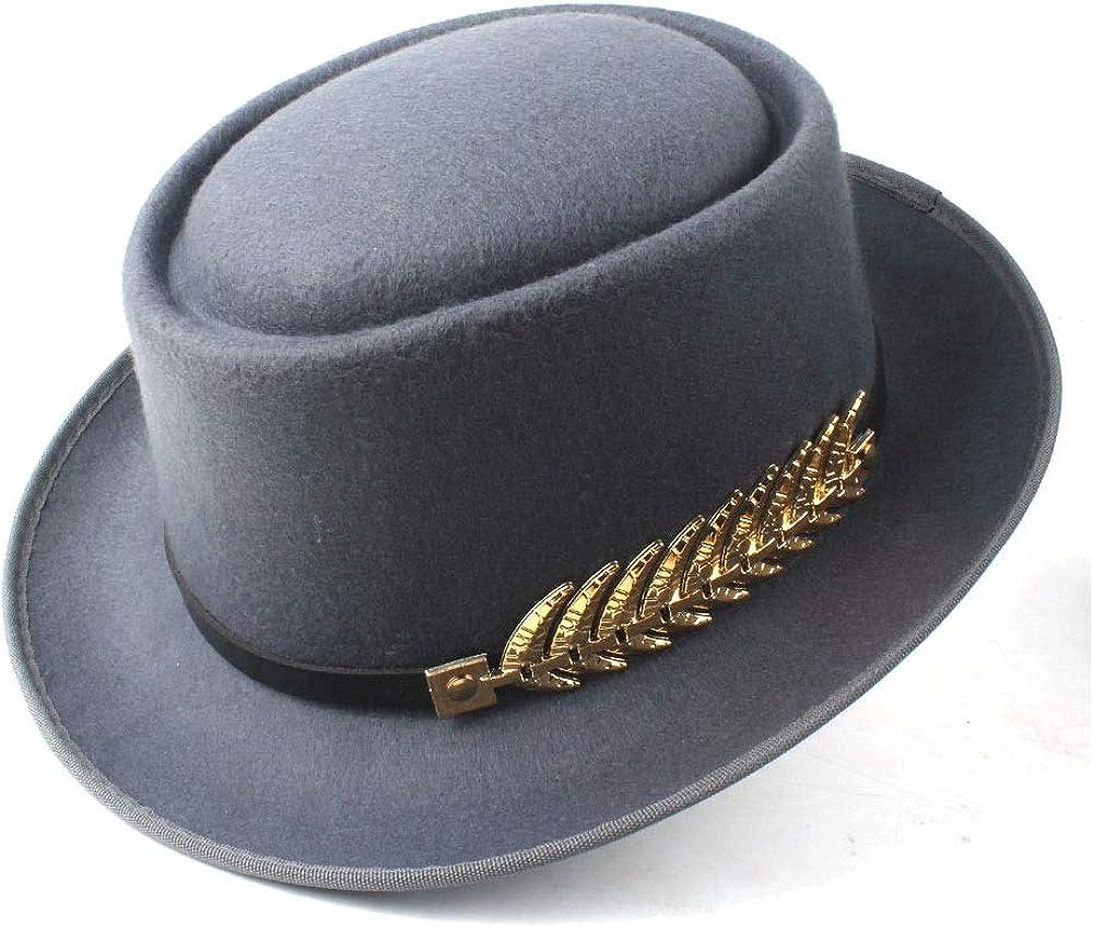 L.W.SUSL Men Women Winter Pork Pie Hat with Belt Pop Fedora Porkpie Jazz Hat Church Casual Hat