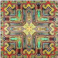 jiao 90cm * 90cmシルクスクエアスカーフレディースファッションブランド 幾何学的なカシュースカーフショールイスラム教徒のヘッドスカーフヒジャーブイエロー