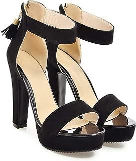 Woman Shoes Summer Tassel Flock Women's Sandals Fringe Sandal Heels Thick High Heel Sandals