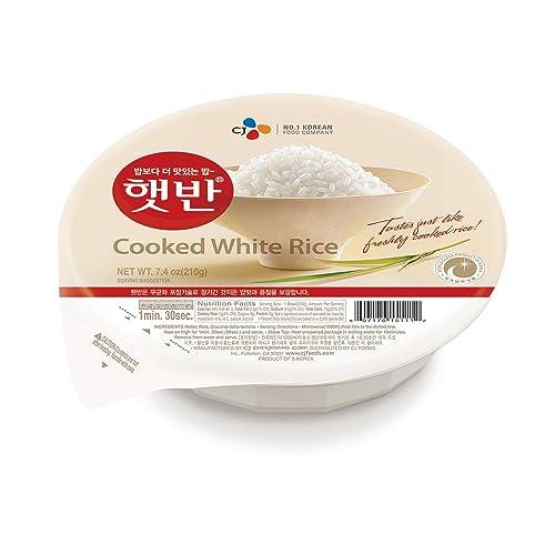 CJ Rice - Cooked White Hetbahn, Gluten-Free & Vegan, 7.4-oz (12 Count), Instant & Microwaveable