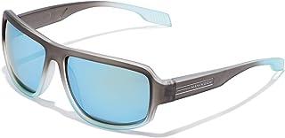 HAWKERS - · Gafas de Sol F18, para Hombre y Mujer, de diseño sportswear con montura bicolor de gris translúcido a azul escarchado y lentes espejadas azules, Protección UV400