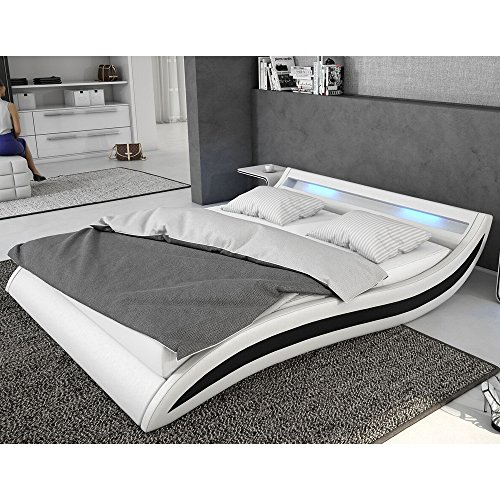 INNOCENT Polsterbett aus Kunstleder inkl. Lattenrost und LED Accentox weiß, 140x200 cm
