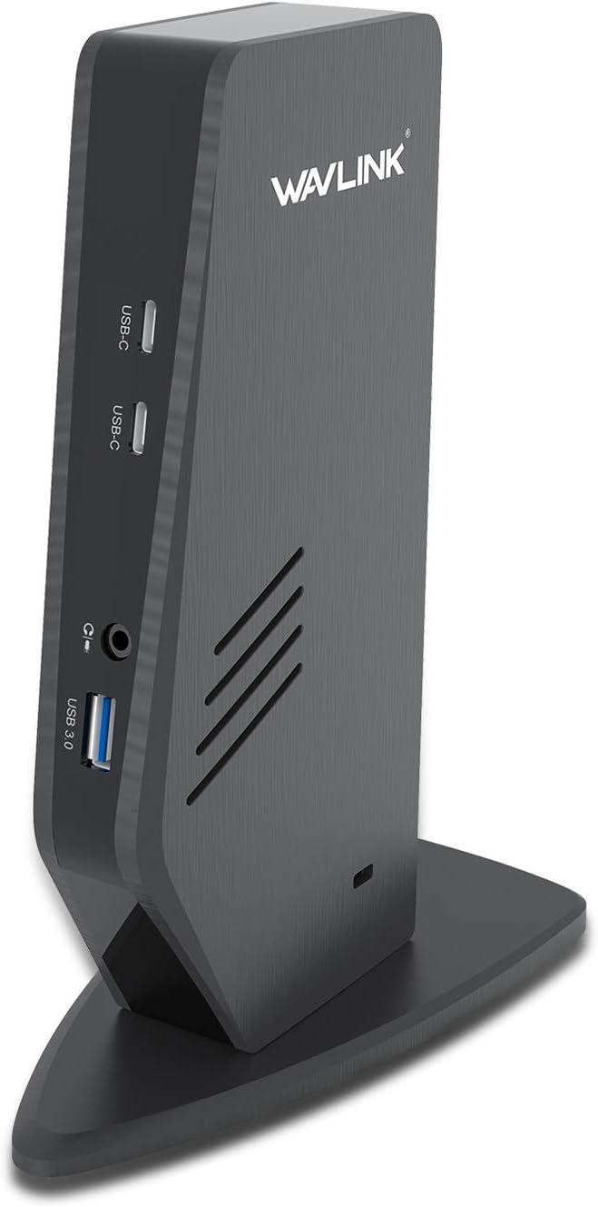 DisplayPort y HDMI, Gigabit Ethernet, 2 en 1 Audio, 5 puertos USB PC o Mac . WAVLINK USB 3.0 // USB C Universal Docking Station admite Dual 4K Video Salidas para port/átil