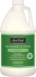 Bon Vital' Organica Massage Lotion Made with Certified Organic Ingredients for an Earth-Friendly & Relaxing Massage, Natural Moisturizer Perfect Lotion for Relaxing Back & Neck Massages 1/2 Gal Bottle