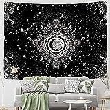 KHKJ Tapiz Blanco Negro Sol Luna Mandala Tarot Tapices Colgante de Pared Celestial Hippie Alfombra de Pared Alfombras Dormitorio Decoración A5 73x95cm