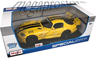 Maisto 1:18 Scale Diecast Model Dodge Viper GT2 - Yellow