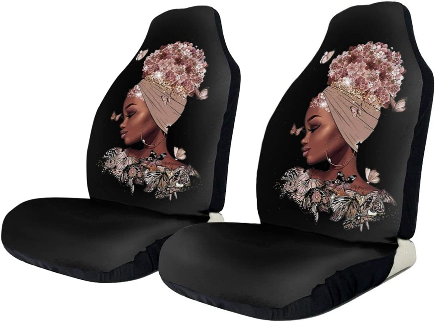 KAIYANJIXIE Afro Girl Surprise price Magic with Flowers Car Pro Cover Rapid rise Hair Seat