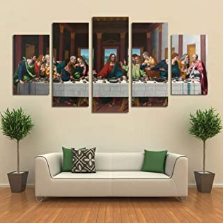 ZSNB Modern Canvas Art Wall Art Prints 5 Pieces Last Dinner Painting Home Decor Poster Picture Canvas Artwork For Living R...