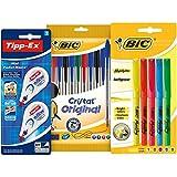 BIC y Tipp-Ex Set Vuelta al Cole de 10 bolígrafos, 5 Marcadores Fluorescentes y 2 Cintas...