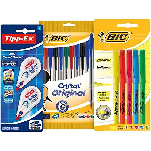 BIC y Tipp-Ex Set Vuelta al Cole de 10 bolígrafos, 5...