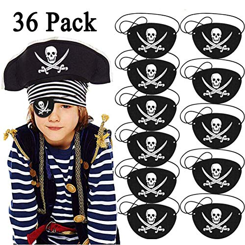 CNNIK 36 Piezas Parches de Ojo de Pirata de Fieltro Negro One Eye Skull Caribbean Captain Eye Mask para Halloween Christmas Pirate Theme Party, Children Favores de Fiesta