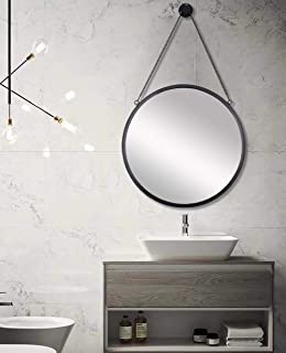 SIMMER STONE 20'' Round Mirror with Hanging Chain, Metal Framed Decorative Wall Mirror, Wall Mount Hook Offered, Black