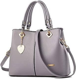 JpOTSUT Women's Classic Crossbody Retro Leather Shoulder Bag, Multi-Purpose Shoulder Bag Leather Briefcase Commuter Bag Business Laptop Tote (Color : Gray)