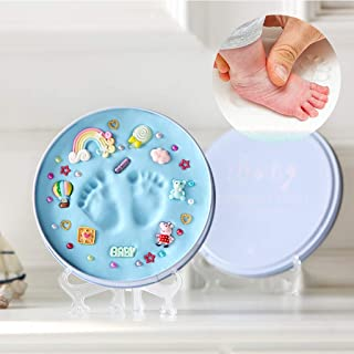 Formemory Round Baby Hand and Foot Ink,Print Souvenir Baby Newborn Hundred Days for Girls & Boys for 0-3 Years Old Baby(Blue)